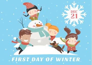 First day of winter with Kids and Snowman