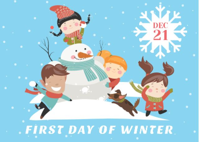 First day of winter with Kids and Snowman Card Design Template
