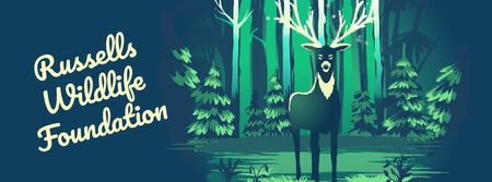 Magical deer in forest Facebook Video cover – шаблон для дизайну