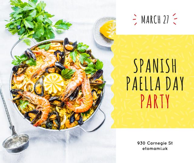 Ontwerpsjabloon van Facebook van Spanish Paella party celebration