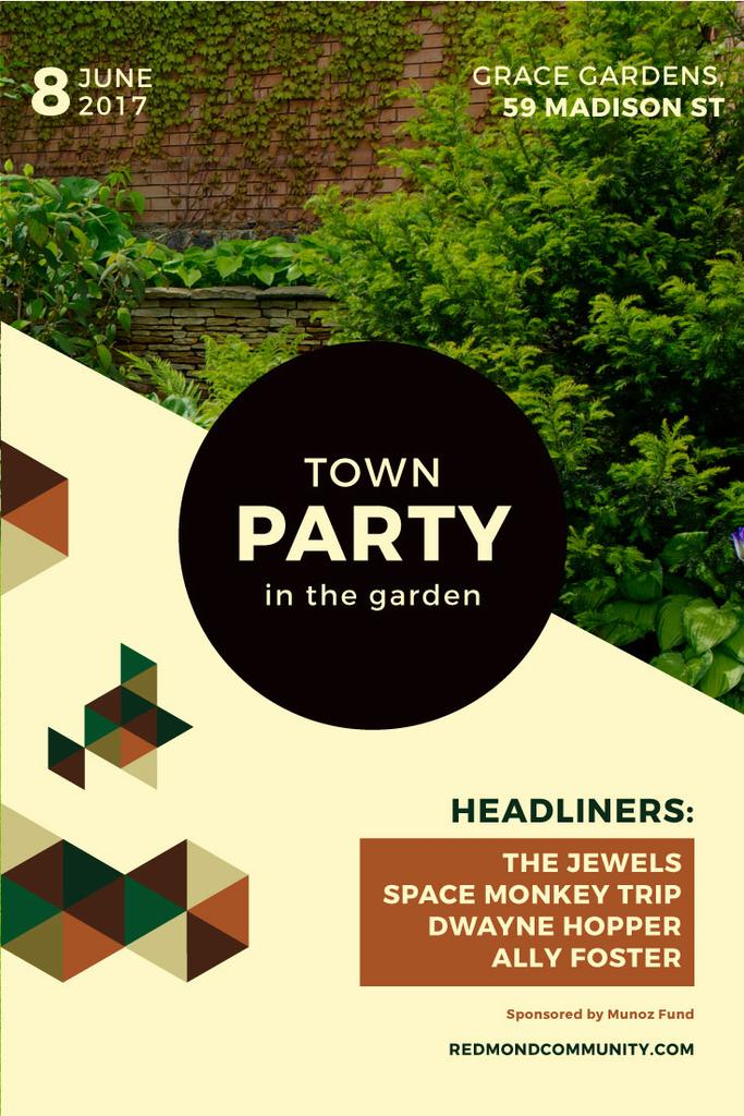 town party in garden poster — Create a Design