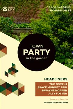 town party in garden poster
