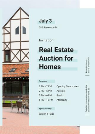 Modern house facade for Real estate auction Invitation Design Template