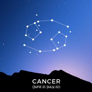 Night sky with Cancer constellation