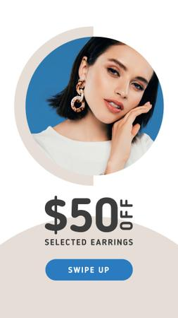 Jewelry Offer Woman in Stylish Earrings Instagram Story Tasarım Şablonu