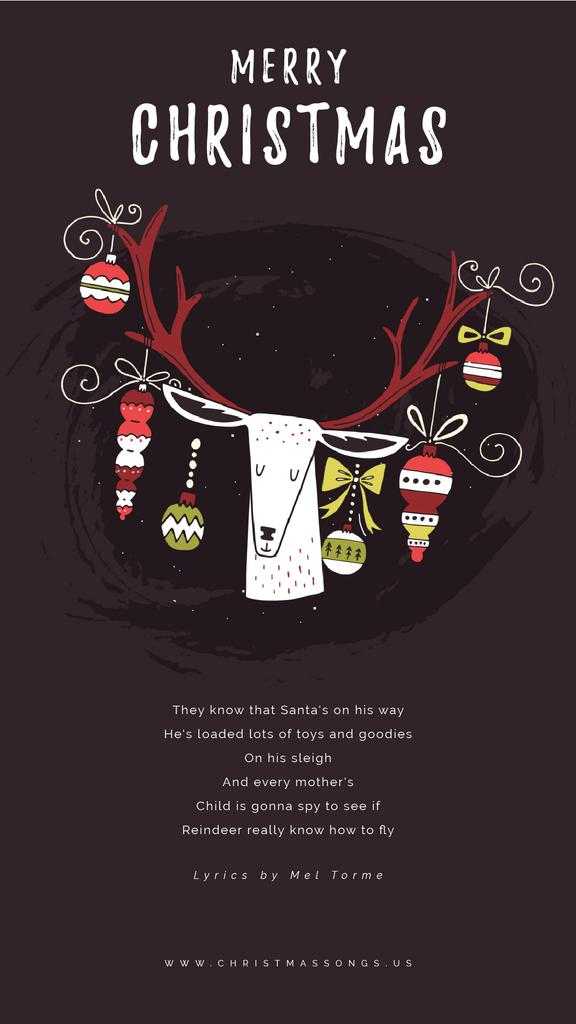 Christmas Greeting with Baubles on Deer Antlers | Vertical Video Template — Crear un diseño