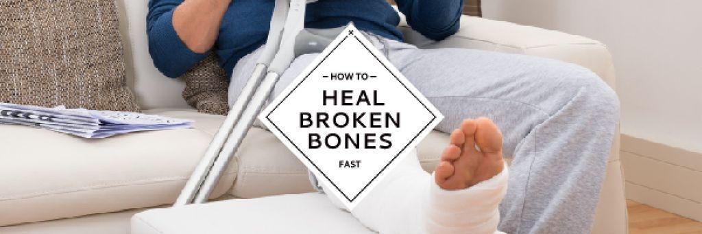 Man with broken bones sitting on sofa reading newspaper — Crear un diseño