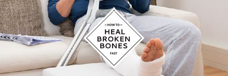 Man with broken bones sitting on sofa Email header – шаблон для дизайну