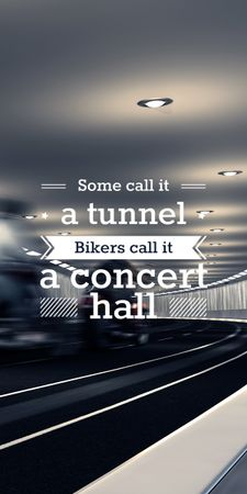 Plantilla de diseño de Bikers in tunnel with funny quotation Graphic