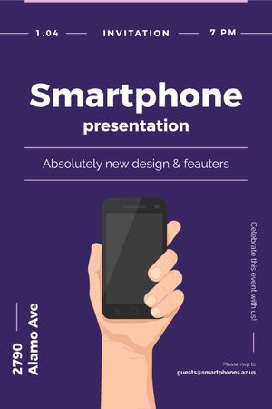 Plantilla de diseño de Smartphone Review hand holding Phone Tumblr