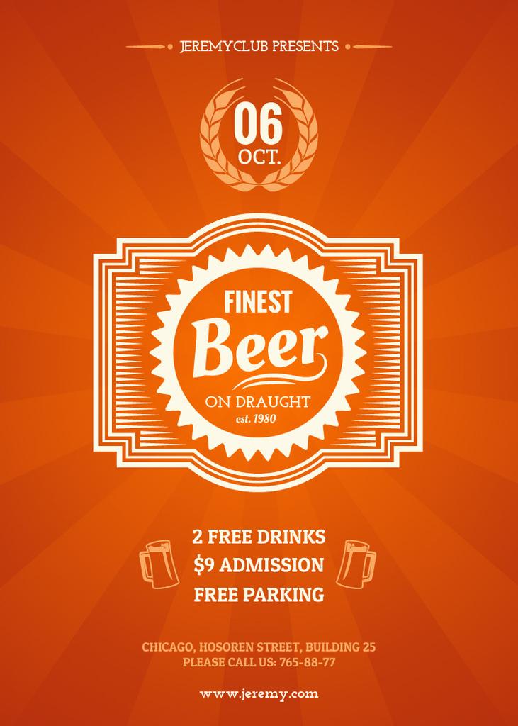 Plantilla de diseño de Finest beer pub ad in orange Flayer