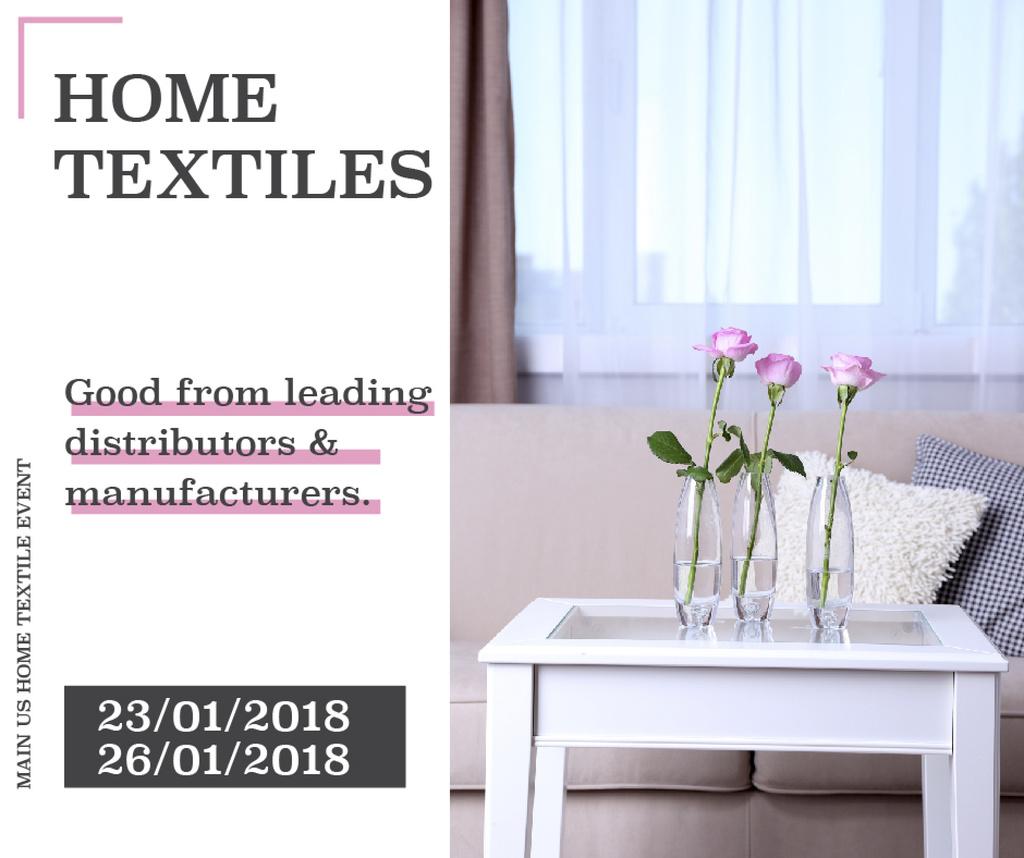 Home textiles event announcement roses in Interior — Modelo de projeto