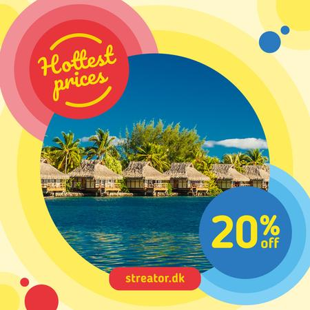 Template di design Vacation Tour Offer with Beach Huts Instagram