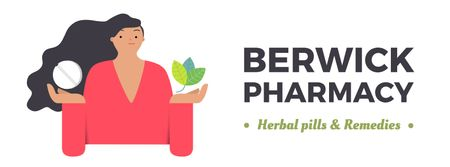 Plantilla de diseño de Woman holding herb and pill Facebook Video cover