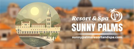 Modèle de visuel Sunny southern resort icon - Facebook Video cover