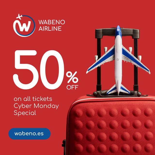 Cyber Monday Airlines Ticket Offer in Red Instagram Tasarım Şablonu