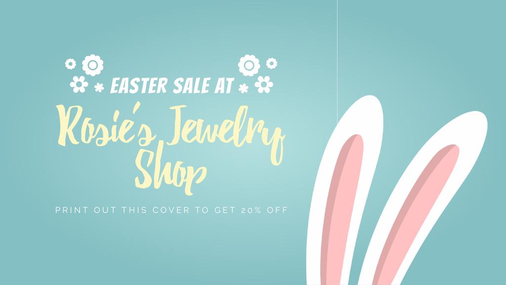 Easter Sale Cute Bunny Ears on Blue — Crea un design