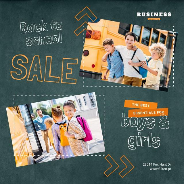 Back to School Sale Kids by School Bus Instagram Design Template