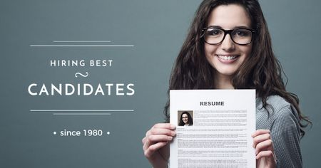 Hiring best candidates with Woman holding resume Facebook ADデザインテンプレート