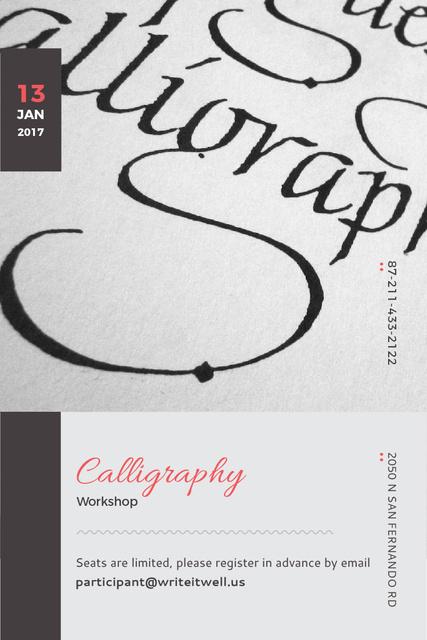 Calligraphy workshop Announcement Pinterest Modelo de Design