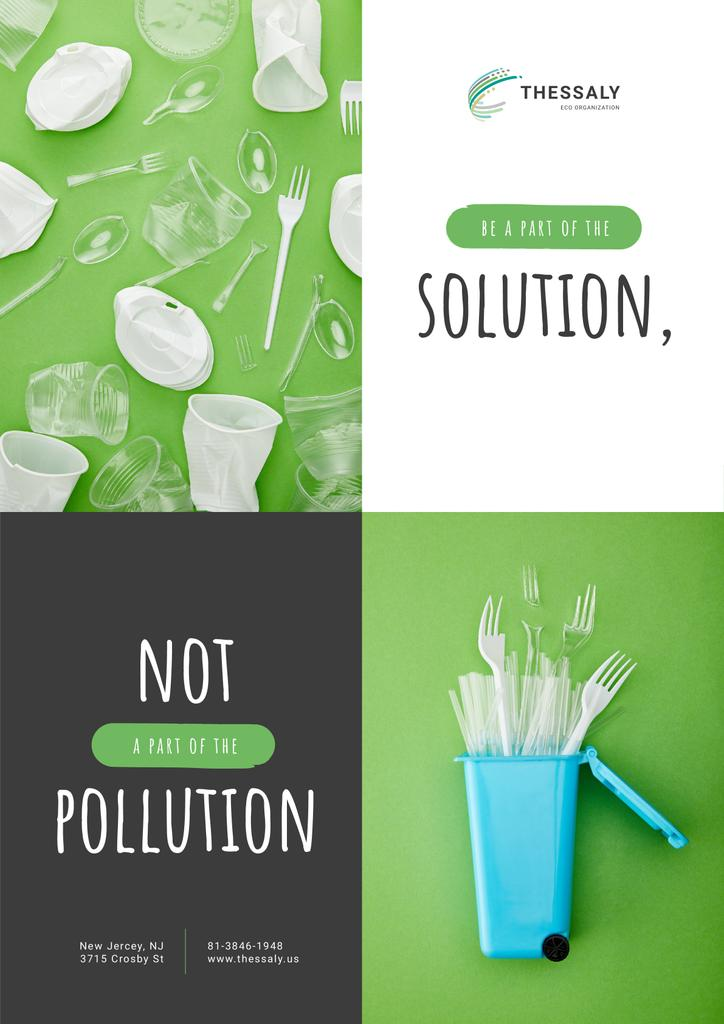 Plastic Waste Concept Disposable Tableware — Créer un visuel