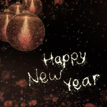 New Year Greeting with Shiny Baubles