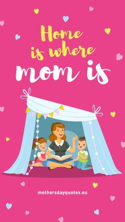 Mother with kids playing in tent on Mother's Day Instagram Storyデザインテンプレート