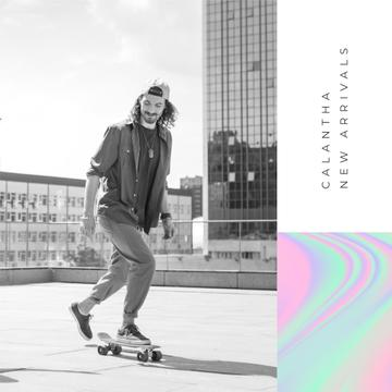 Fashion Ad with Man riding skateboard