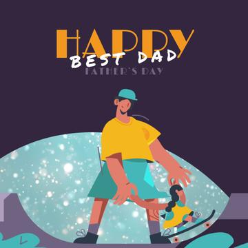 Father with daughter on skateboard