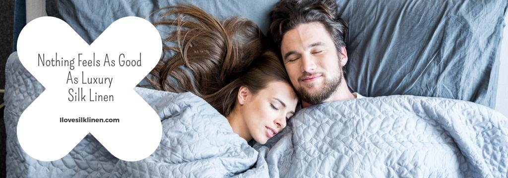 Bed Linen ad with Couple sleeping in bed — Создать дизайн