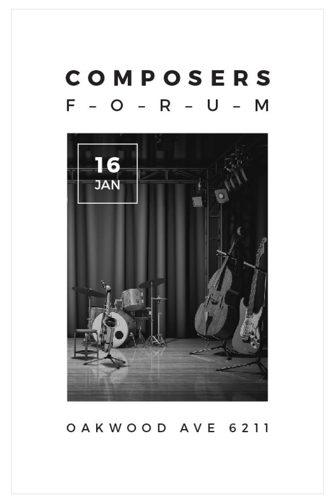Composers Forum with Music Instruments on Stage — Maak een ontwerp