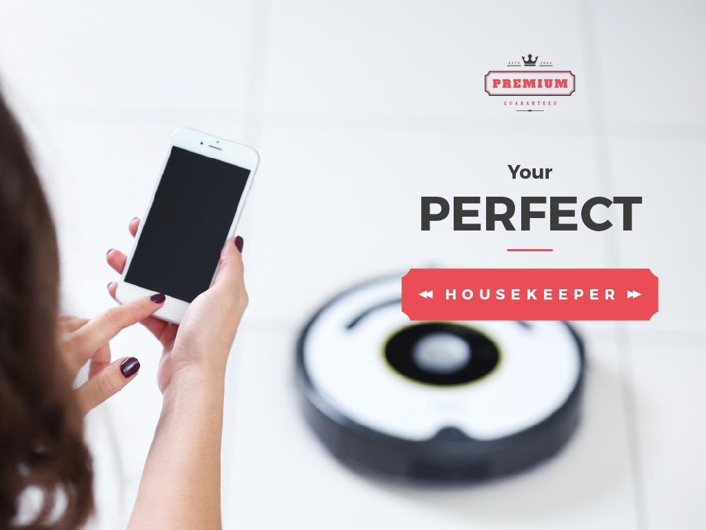 Woman with Smartphone Adjusting Robot Vacuum Cleaner | Presentation Template — Створити дизайн