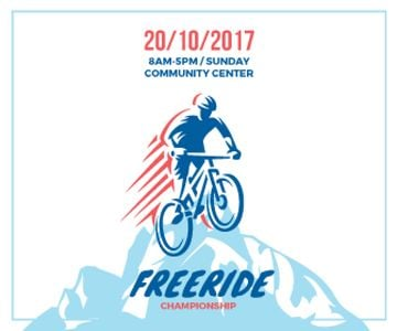 Freeride Championship Announcement Cyclist in Mountains | Large Rectangle Template