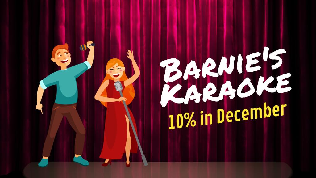 Karaoke Invitation Woman and Man Singing — Modelo de projeto