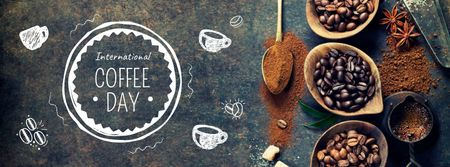 Coffee Day with beans and spices Facebook cover – шаблон для дизайну