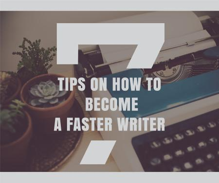 Designvorlage Writing Tips with Vintage Typewriter at workplace für Facebook