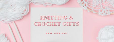 Knitting and Crochet Store in White and Pink Facebook cover Tasarım Şablonu