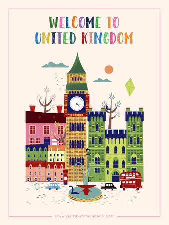 Designvorlage London Famous Travelling Spots für Poster US