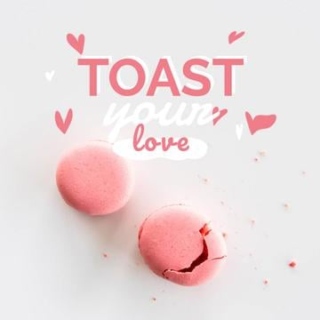 Love Quote Macaron Cookies in Pink