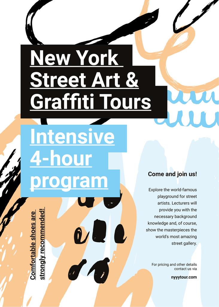 Graffiti Tour promotion on Colorful abstract pattern Invitation – шаблон для дизайна
