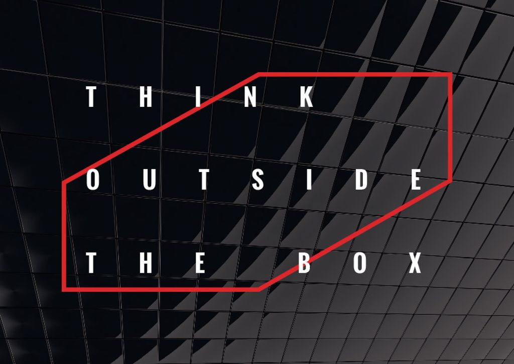 Think outside the box Quote on black tiles — Crear un diseño