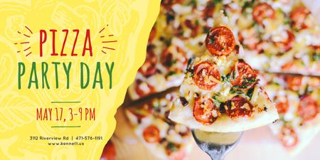 Pizza Party Day poster Image Tasarım Şablonu