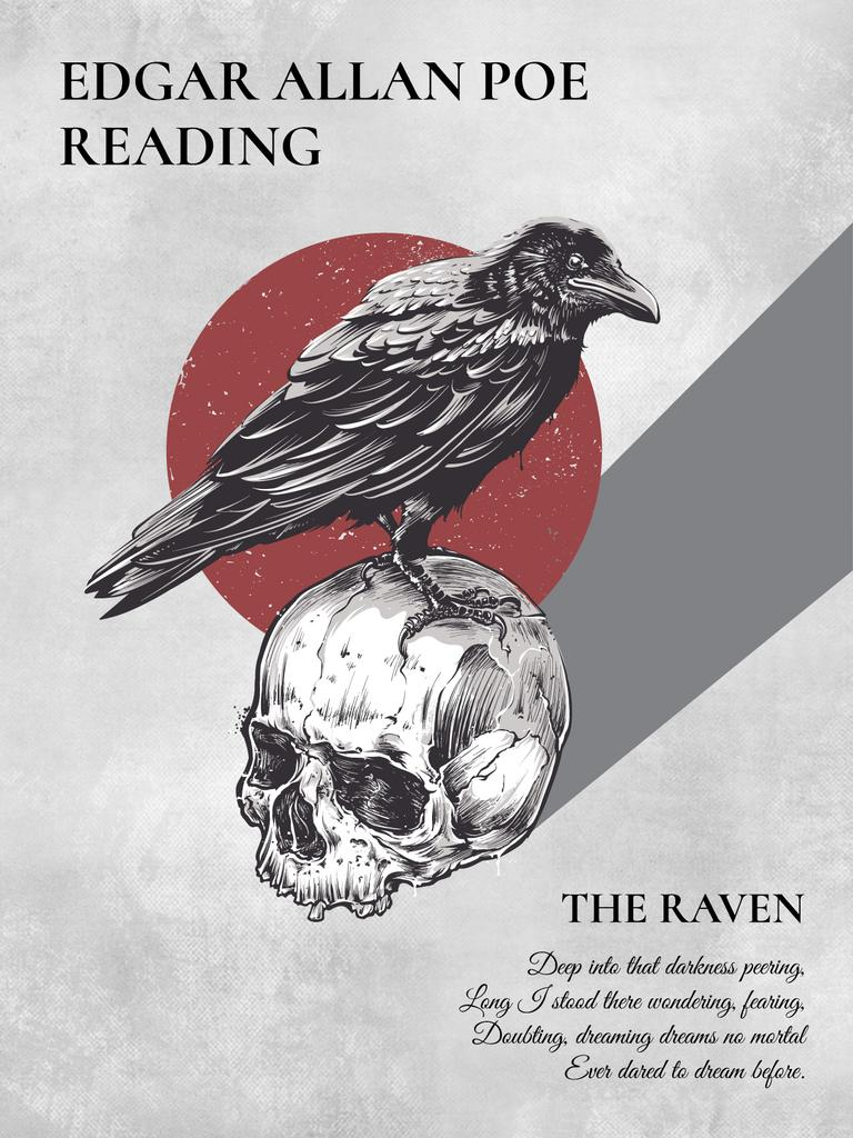 Artistic Poster with Raven Sitting on Skull | Poster Template — Створити дизайн