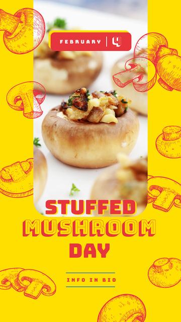 Ontwerpsjabloon van Instagram Story van Stuffed mushroom day on yellow