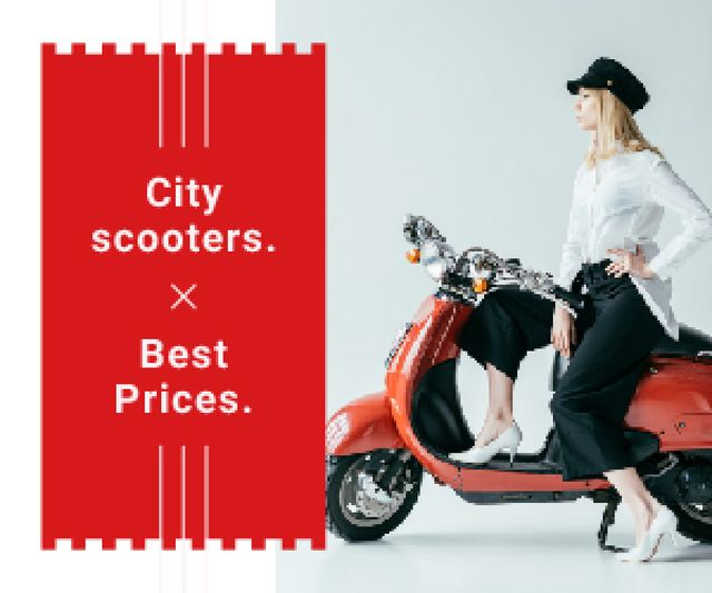 Stylish Girl on Retro Scooter Medium Rectangle Tasarım Şablonu