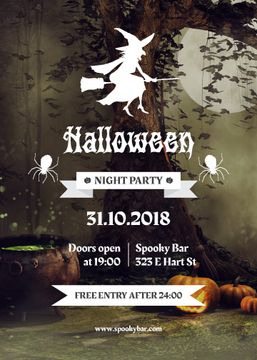 Halloween Night Party Flying Scary Witch | Invitation Template