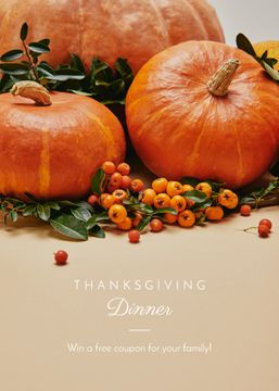 Thanksgiving Dinner Invitation Pumpkins and Berries