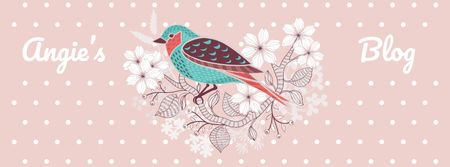 Blog Illustration with Cute Bird on Pink Facebook coverデザインテンプレート