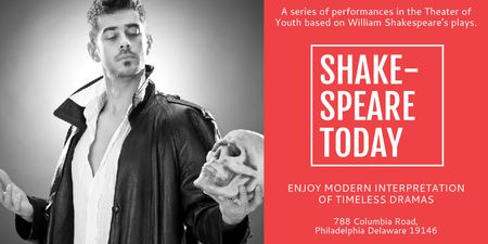 Plantilla de diseño de Theater Invitation with Actor in Shakespeare's Performance Twitter