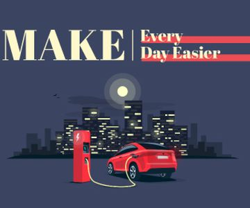 Charging Electric Car on City Background | Large Rectangle Template